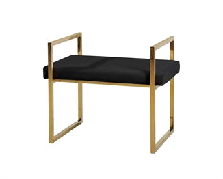 BLACK/GOLD VELVET BENCH