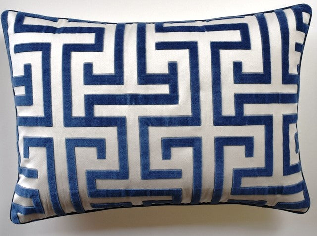 MING TRAIL NAVY LUMBAR PILLOW- Navy and White Pattern- 14x20- TWO In Stock