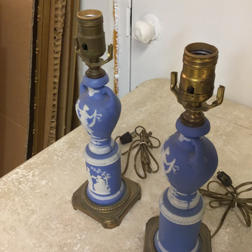 """Wedgewood"" Blue glass lamps with milk white trim"