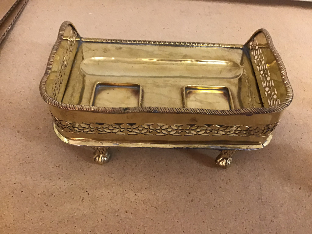 Polished Brass Inkwell