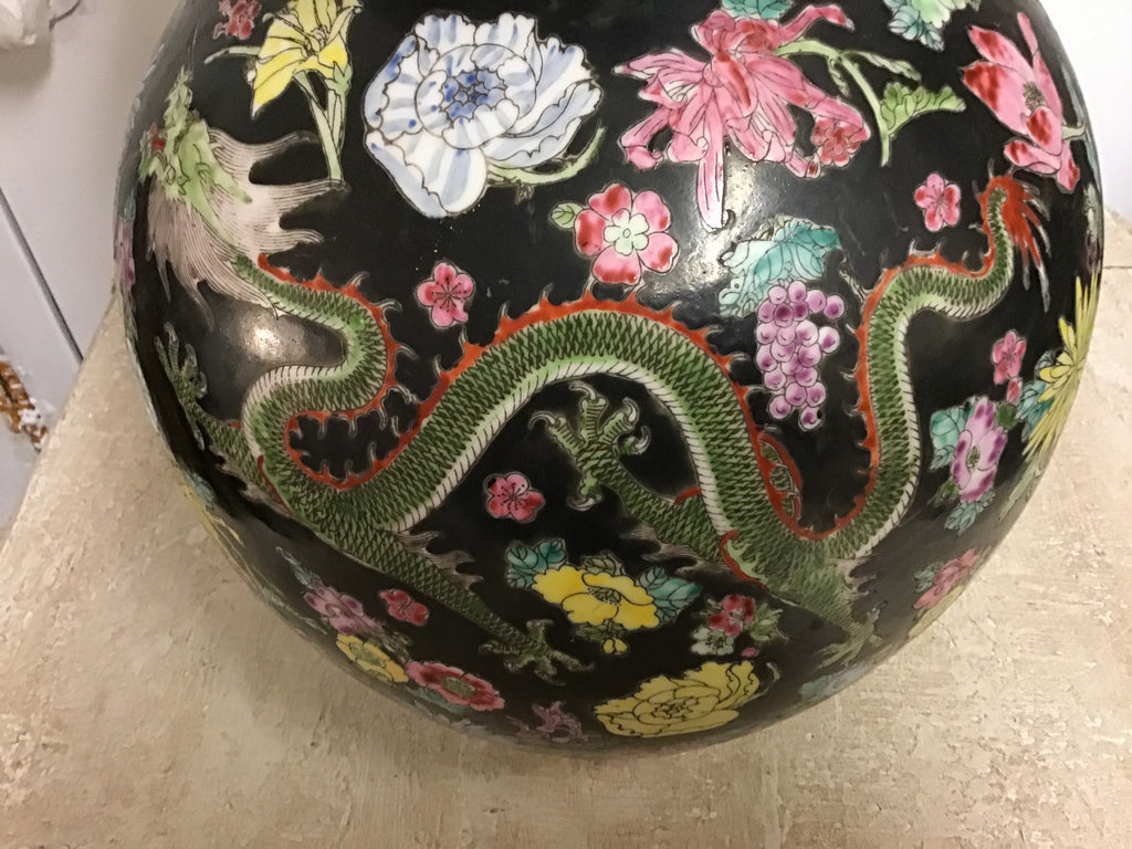 Black, multi-colored Chinese Vase