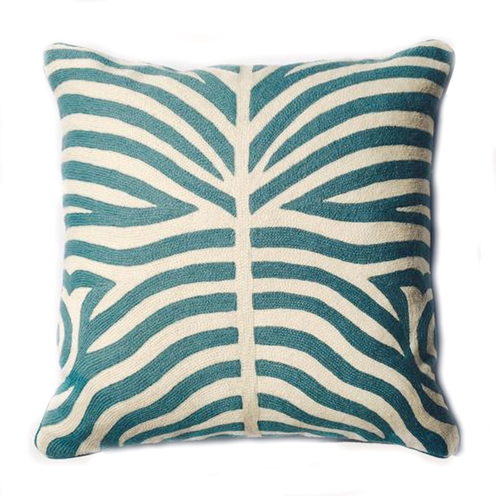 THE ABIGAIL PILLOW  -  Aqua & Cream Wool Zebra  -  19x20