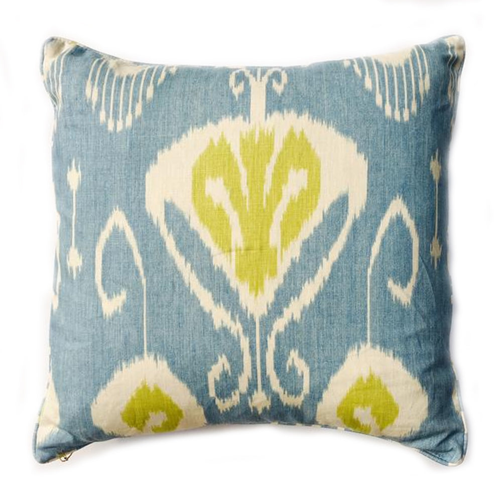 "Z - THE ARIANNA PILLOW - Ikat Blue  - 22"" x 22""       -    Two in Stock"