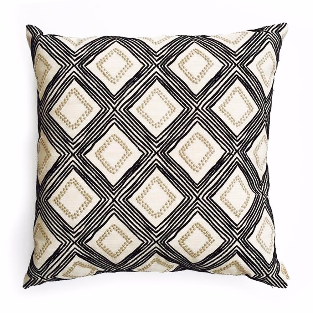 THE BRIANNA PILLOW  -  Black/white/taupe diagonal pattern  -  24x24  -  Two in Stock  -  FREE SHIPPING