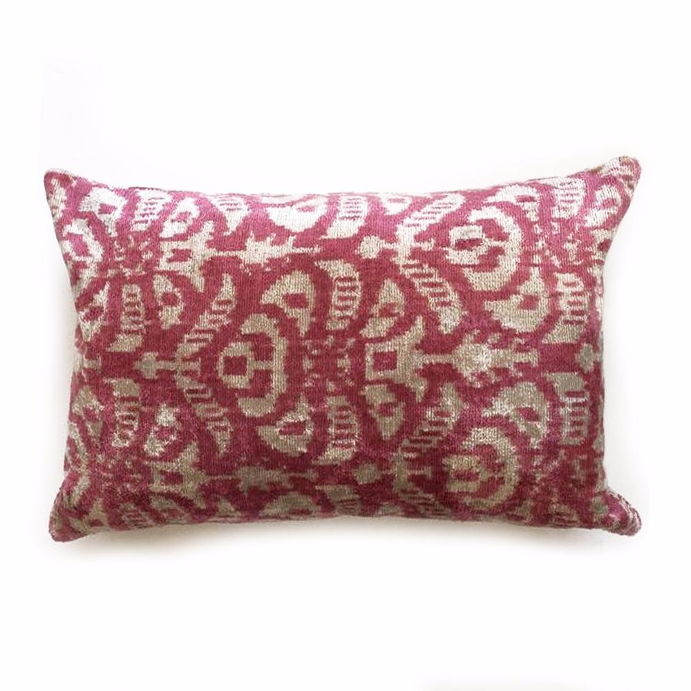 "L - THE CARRIE- Ikat Design Soft Pink Lumbar - 16""x24 ""- Two in Stock-FREE SHIPPING"