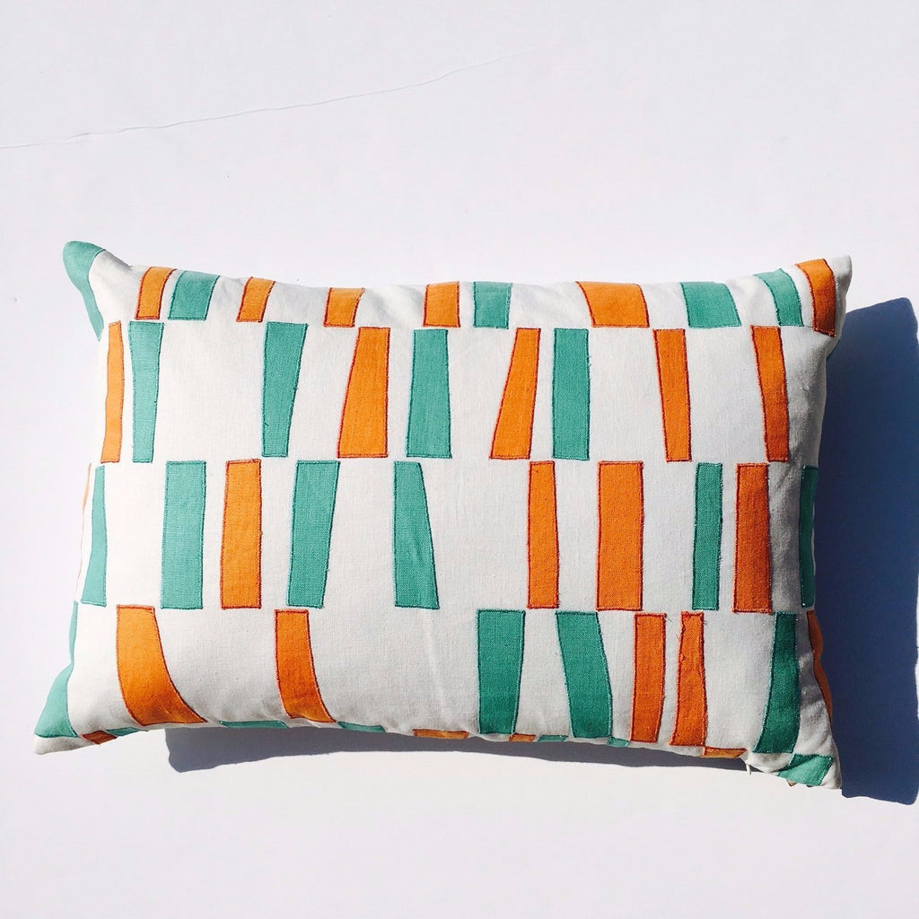 "L -  THE MARGARET PILLOW - 16"" x 24"" - Colorful Embroidery  -  Two in Stock"