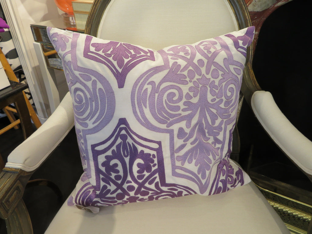 "THE LIBBY PILLOW  -  White / Lavender  -  20"" X 20"""