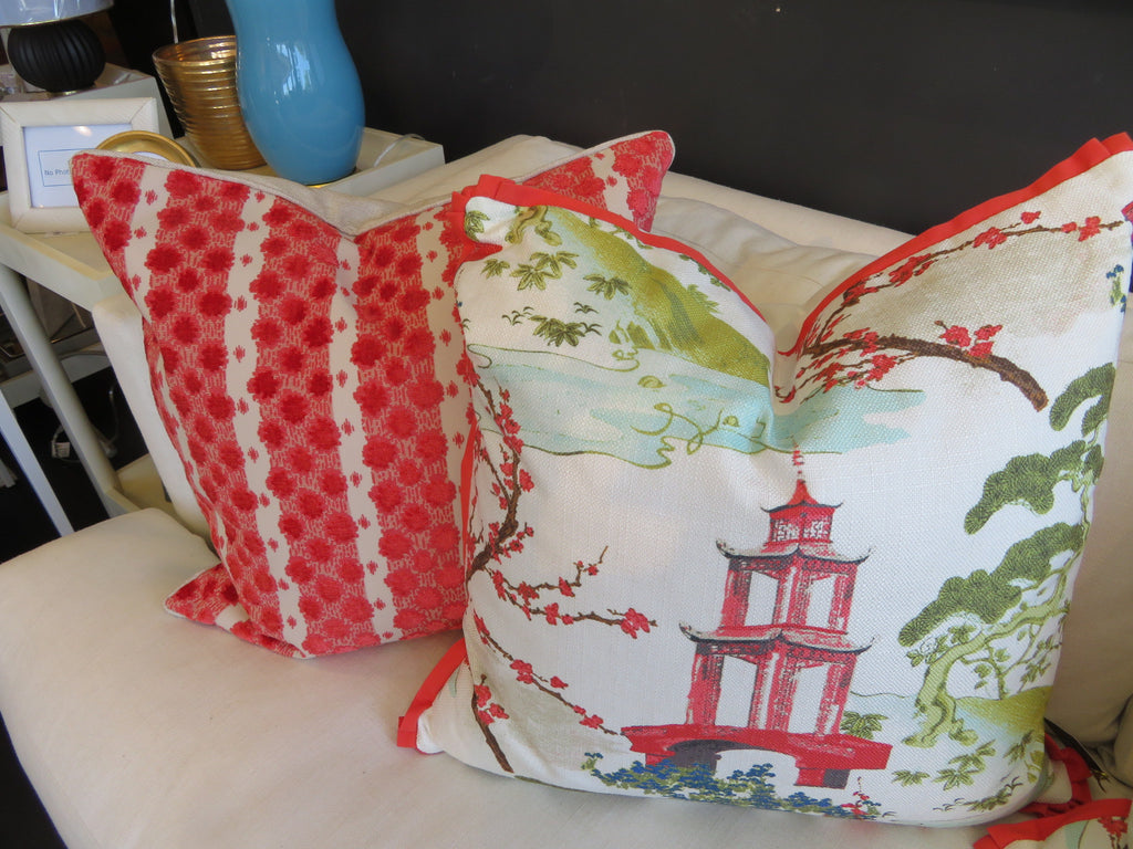 "THE MATILDA PILLOW  -  Bold Asian Pattern  -  23"" X 23""  -   Two in Stock"
