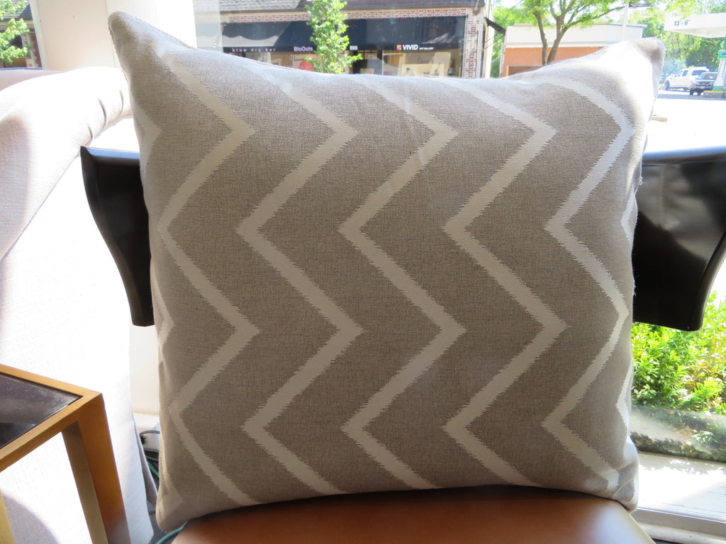 THE TAYLOR PILLOW  -  Taupe Zig Zag Pattern  -  24x24  -  Two in Stock  -  FREE SHIPPING