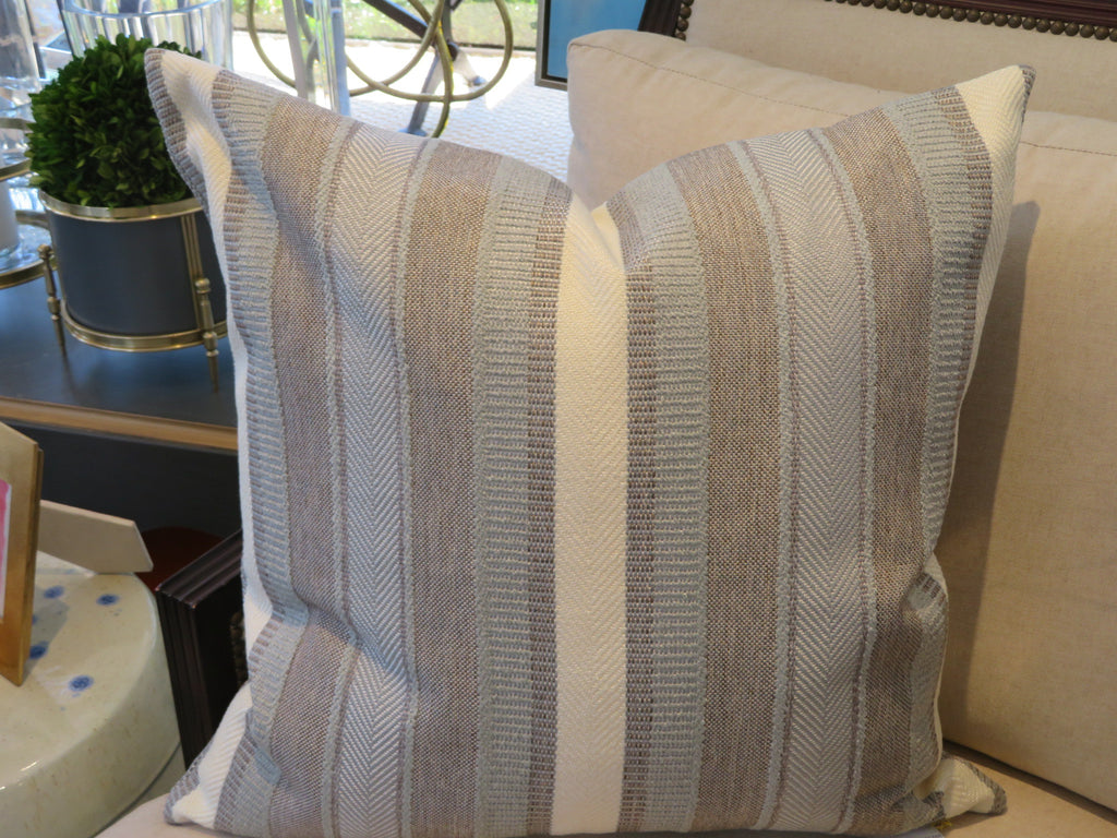 "THE GABRIELLA PILLOW - Grey, Taupe and White Stripe  -  23"" x 23""  -    Two in Stock  -   FREE SHIPPING"