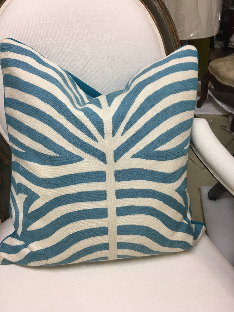 THE ABIGAIL PILLOW  -  Aqua & Cream Wool Zebra  -  19x20  -  One in stock