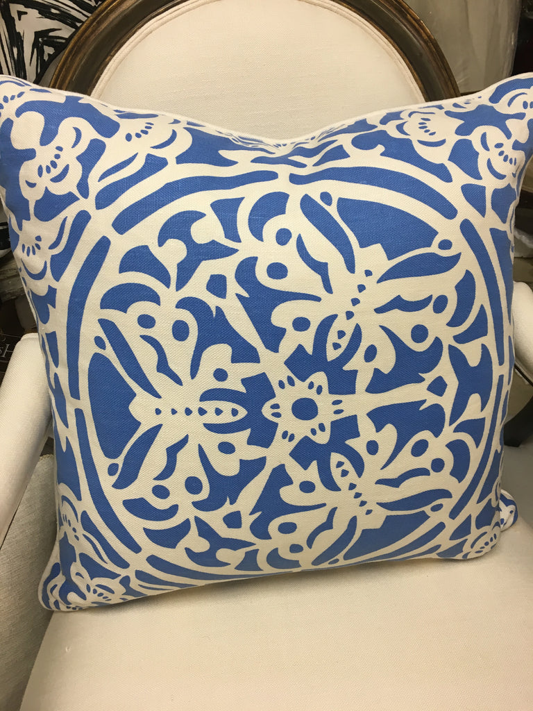 "THE BRIGIT PILLOW  -  Linen in Blues  -  22"" x 22""  -   One in Stock"