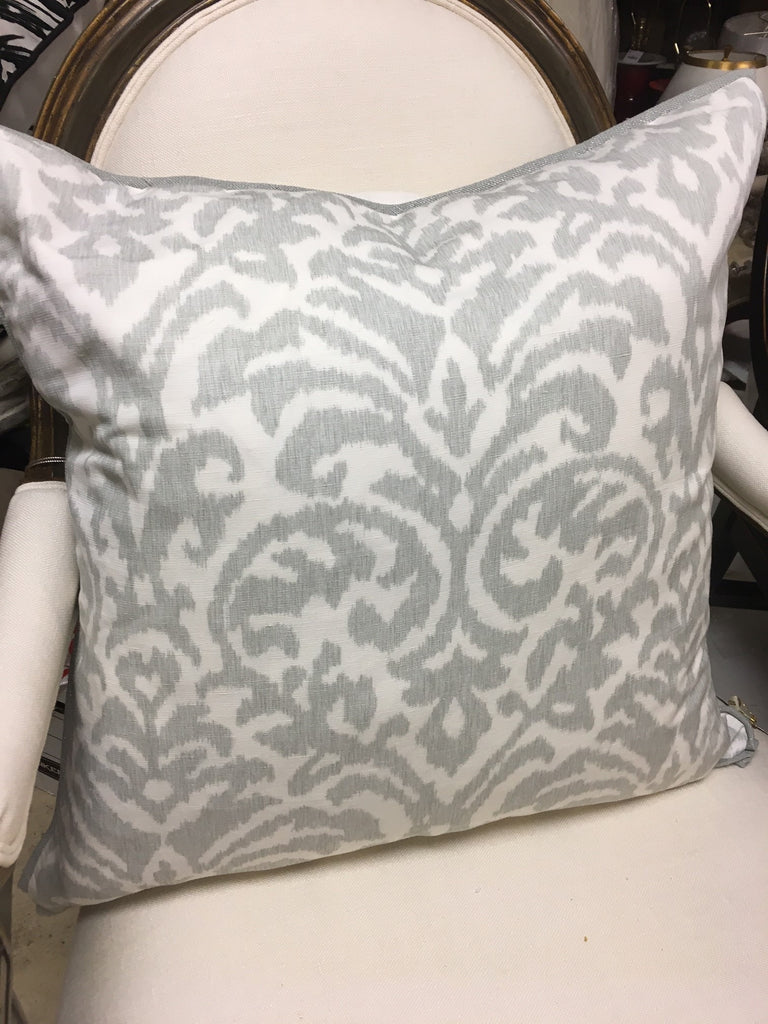 THE GALA PILLOW  -  Gray & white Ikat Pattern  -  22x22  -  Two in Stock