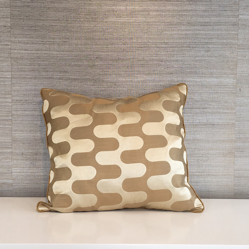 "THE MISSIE PILLOW  -  Two Shades of Gold  - 24"" X 24""  -  Two in Stock  -  FREE SHIPPING"