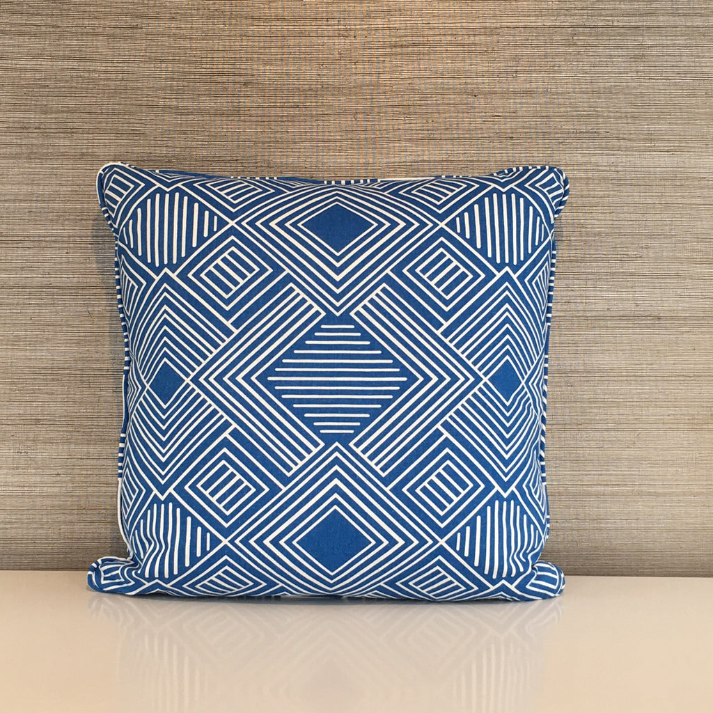 "THE LOUISA CUSTOM PILLOW  -  Blue White  -  22"" x 22""     -   Two in Stock"