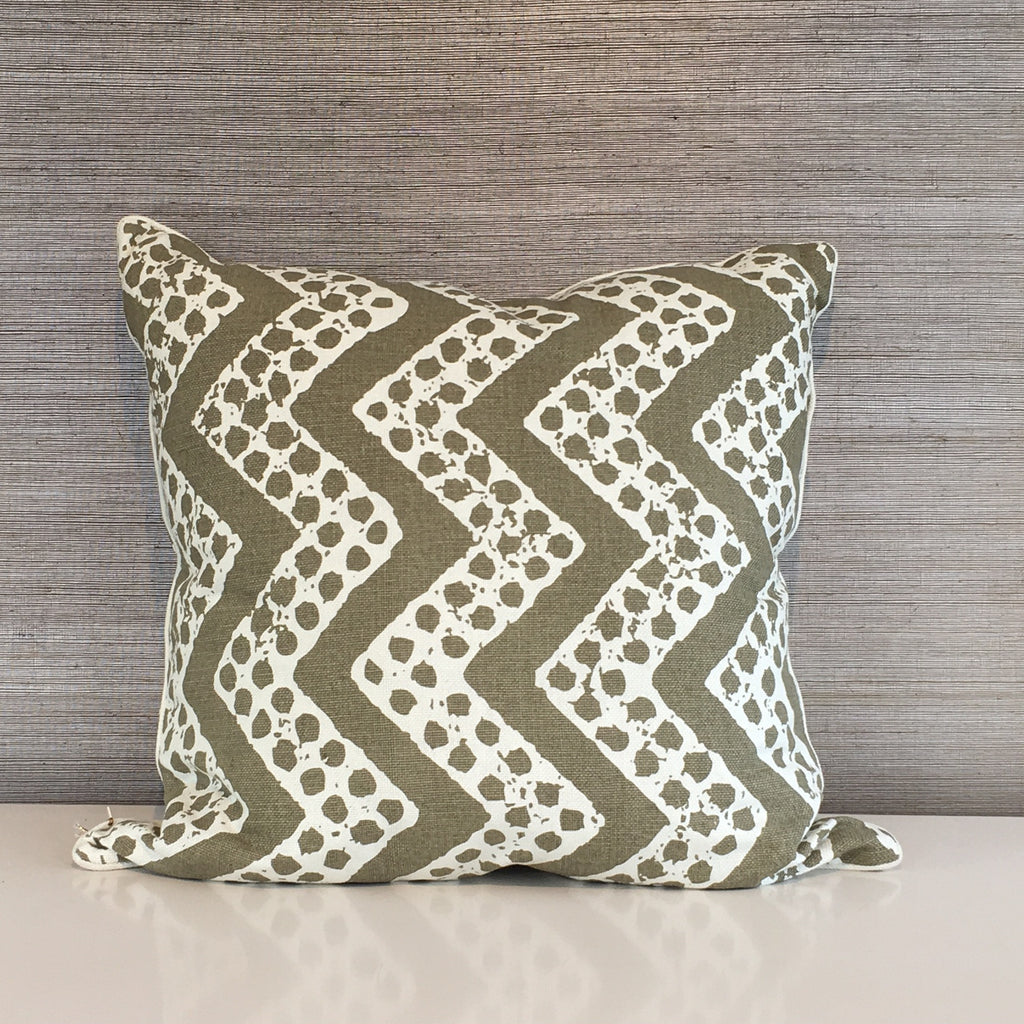 "THE ELIZABETH PILLOW  -  Olive and White Zig-Zag Pattern  -  22"" x 22""  -   Two in Stock"