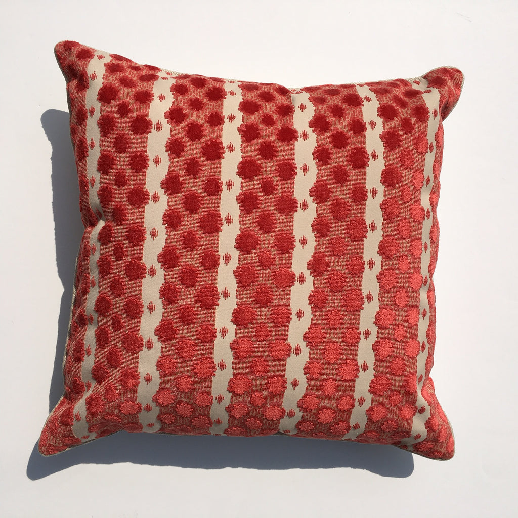 "THE POPPY PILLOW  -  Brilliant Coral  -  23"" x 23""  -  Two in Stock  -"