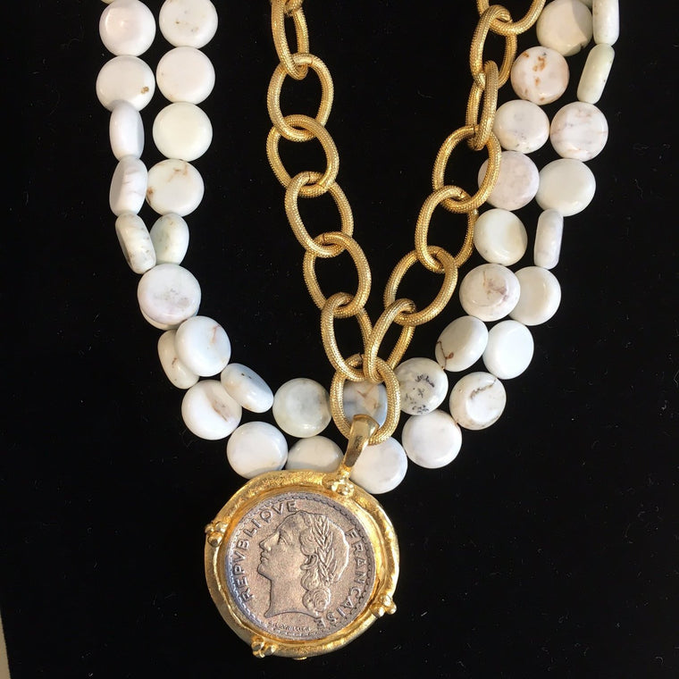 COIN & WHITE NECKLACE