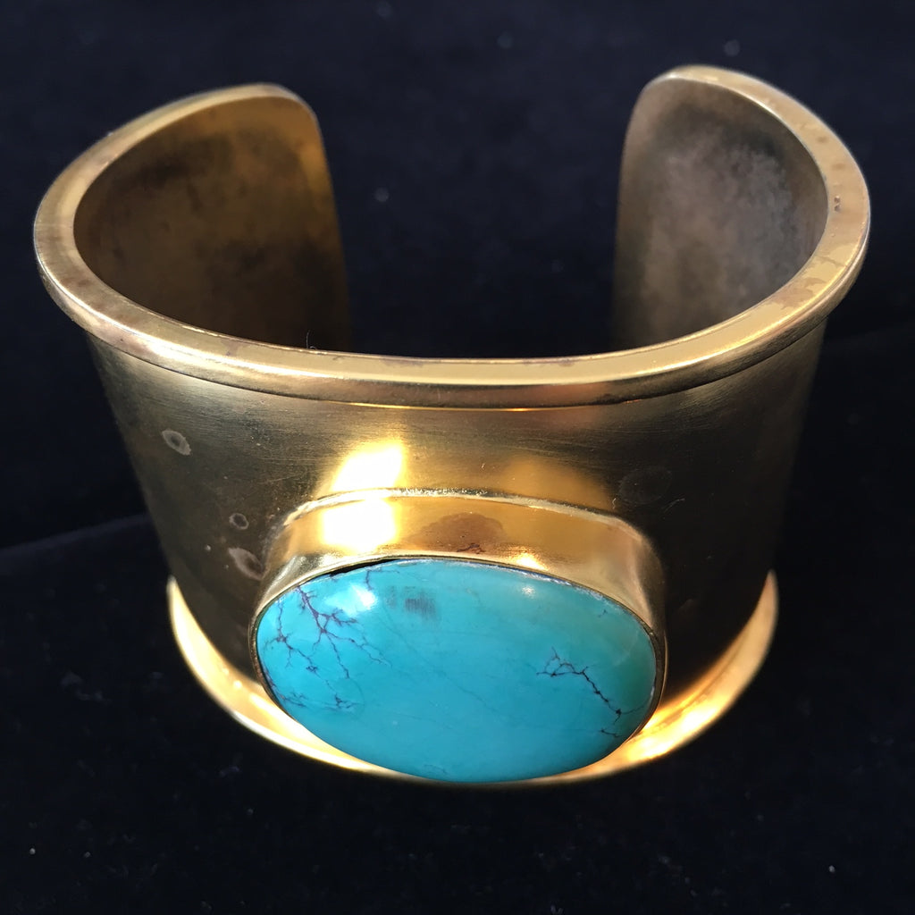 Turquoise cuff in 18k GV