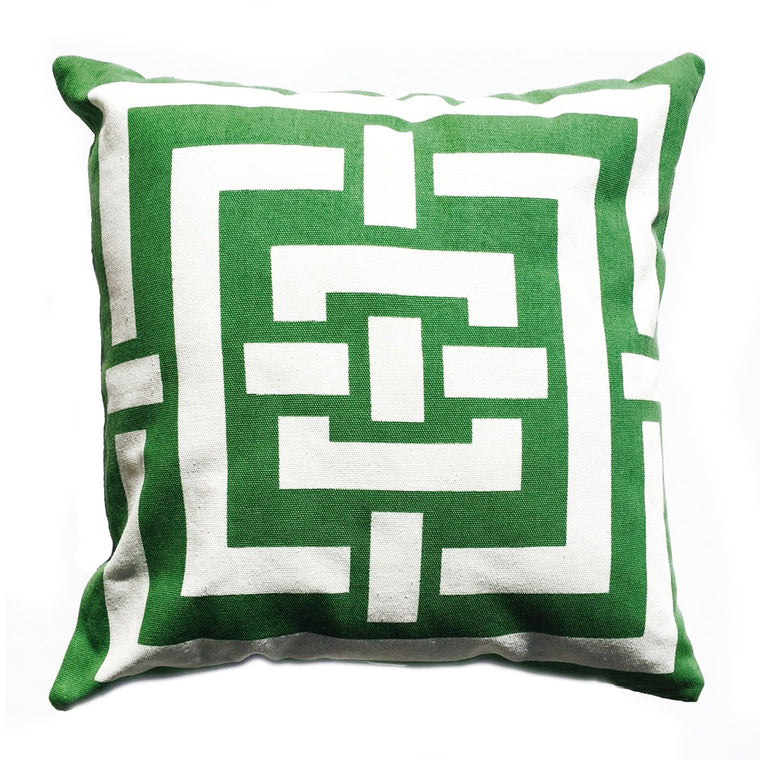 "THE KELLY PILLOW -  Linen in Kelly Green and White  -  20"" x 20""  -   Two in Stock  -   FREE SHIPPING"