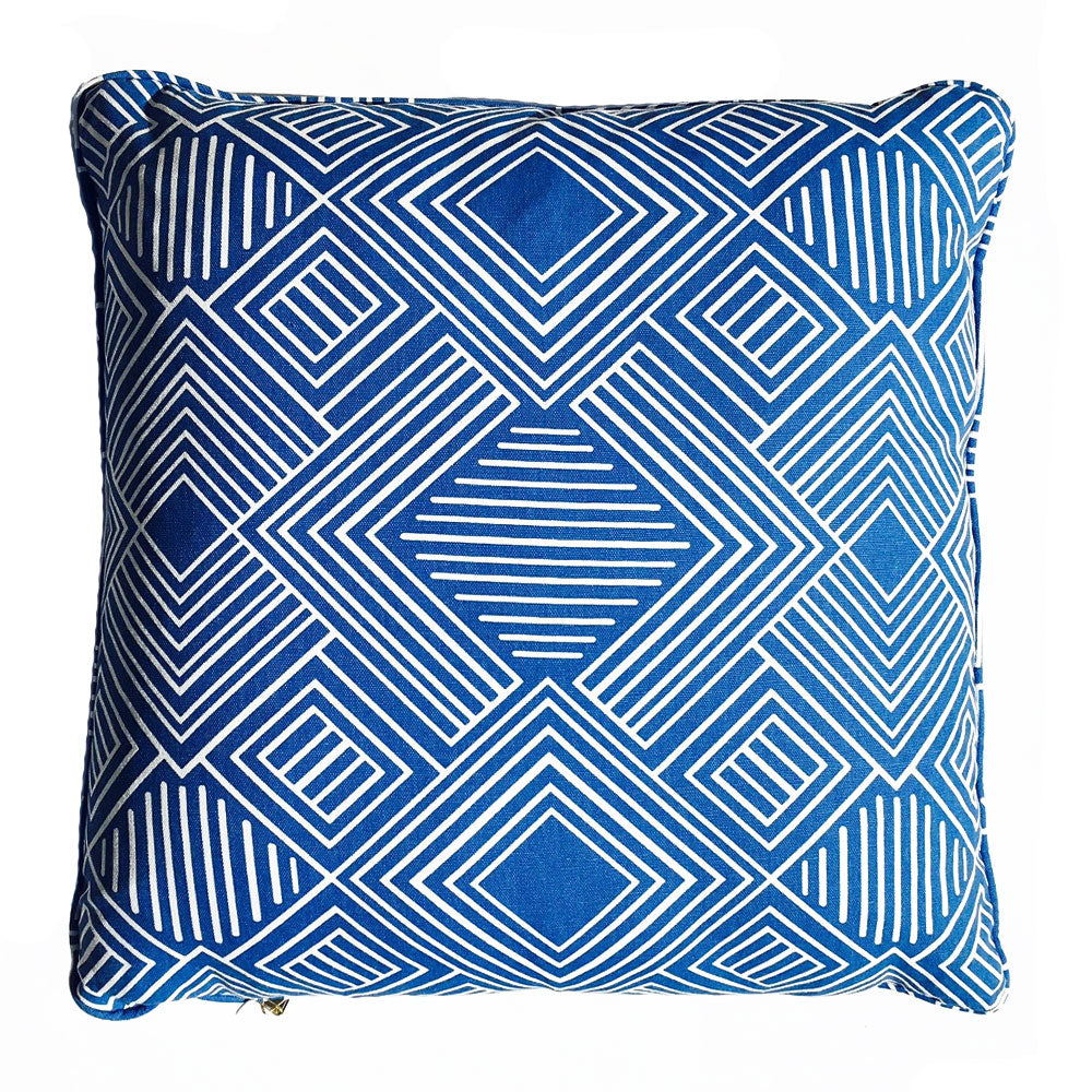"THE LOUISA CUSTOM PILLOW  -  Blue White  -  22"" x 22"""