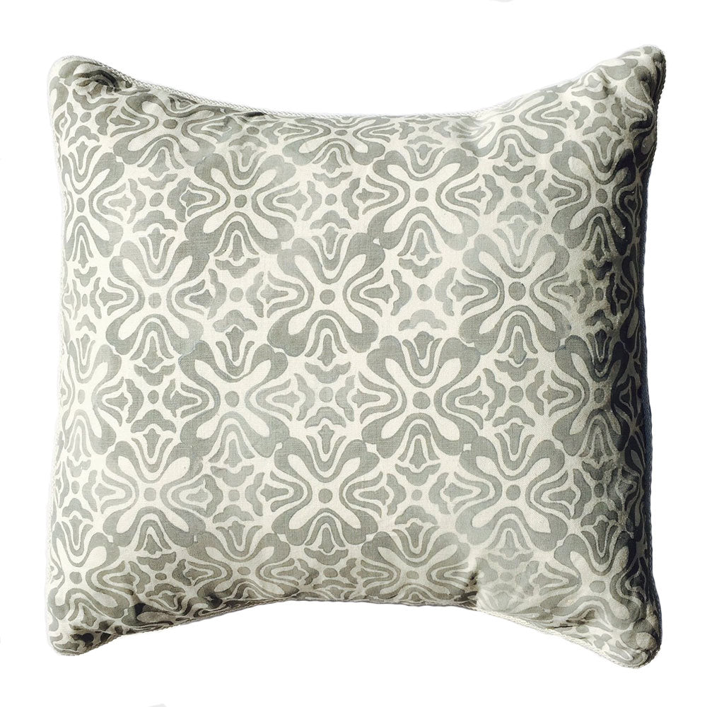 "THE LUCY PILLOW  -  Gray and Cream Hibiscus Pattern  -   24"" X 24""  -  Two in Stock  -"
