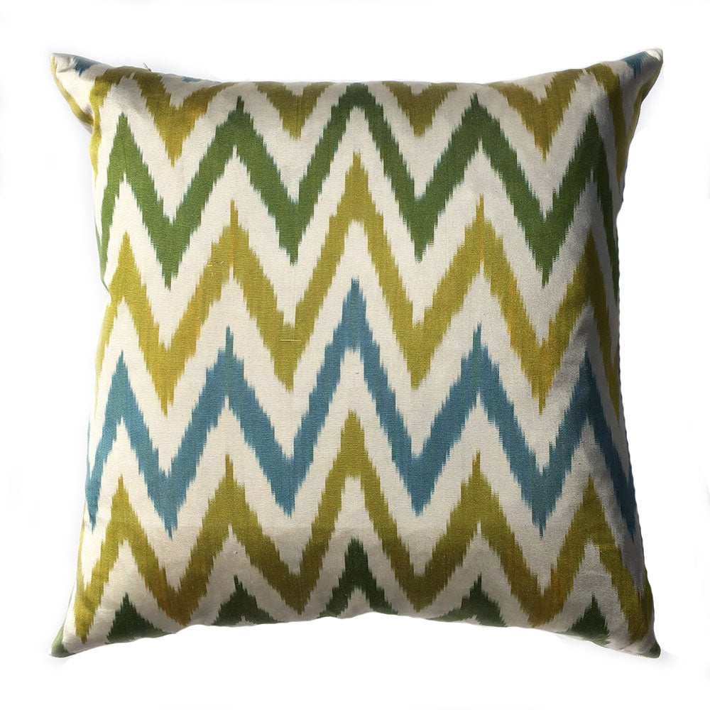 THE MARTHA PILLOW  -  Zig Zag Pattern in Chartreuse/Green/Aqua  -  24x24  -  Two in Stock  -  FREE SHIPPING