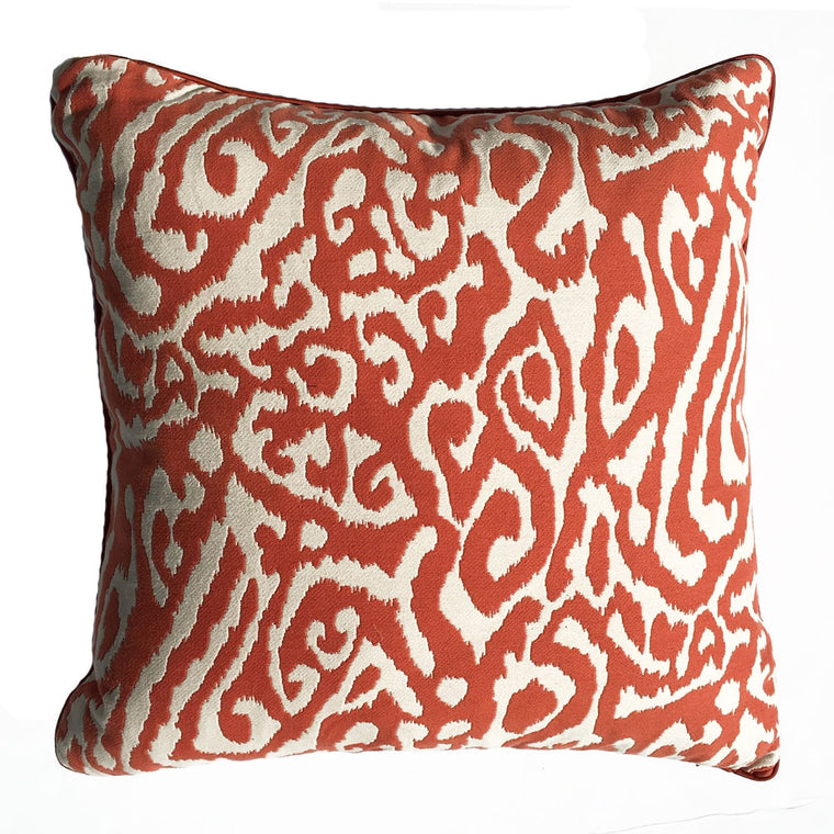 "THE OLIVIA PILLOW  - Modern Orange and White Pattern  -  22"" x 22""  -  Two in Stock   -   FREE SHIPPING"