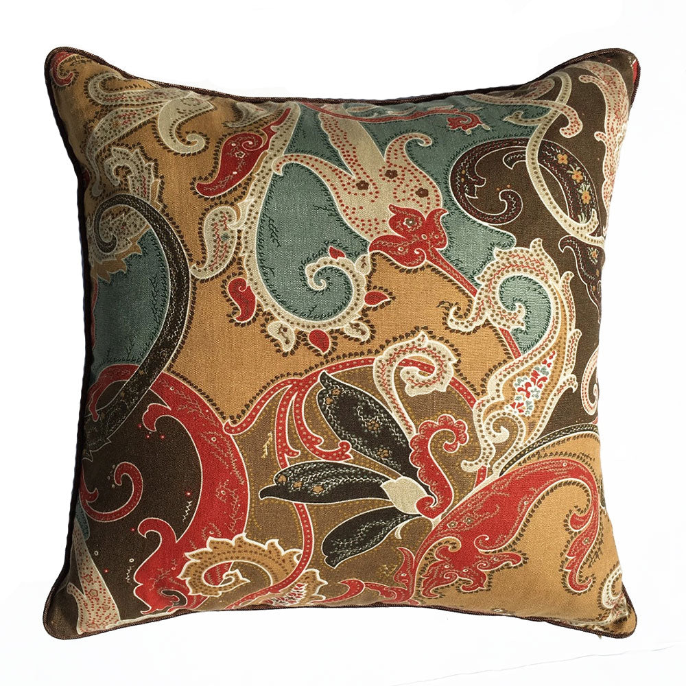 "THE PAISLEY PILLOW  -  Paisley Pattern Browns  - 24"" X 24""  -  Three in Stock  -  FREE SHIPPING"