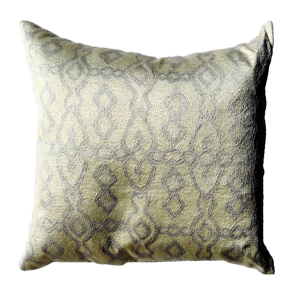 "THE PAMELA PILLOW  -  Cream & Blue Emb  -  22"" x 22"""