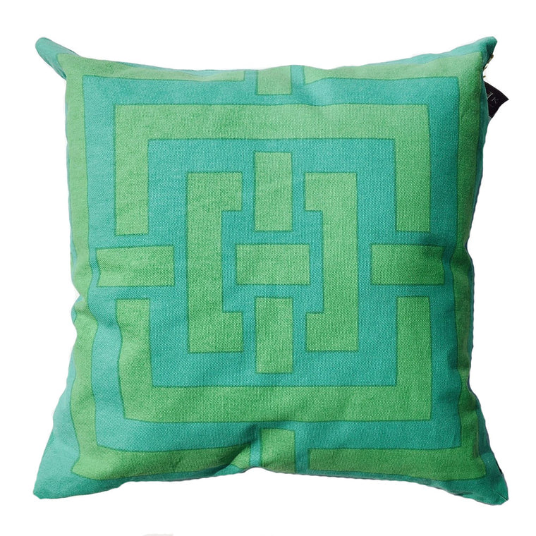 "THE PATSY PILLOW  -  Aqua and Green  -  20"" x 20"""