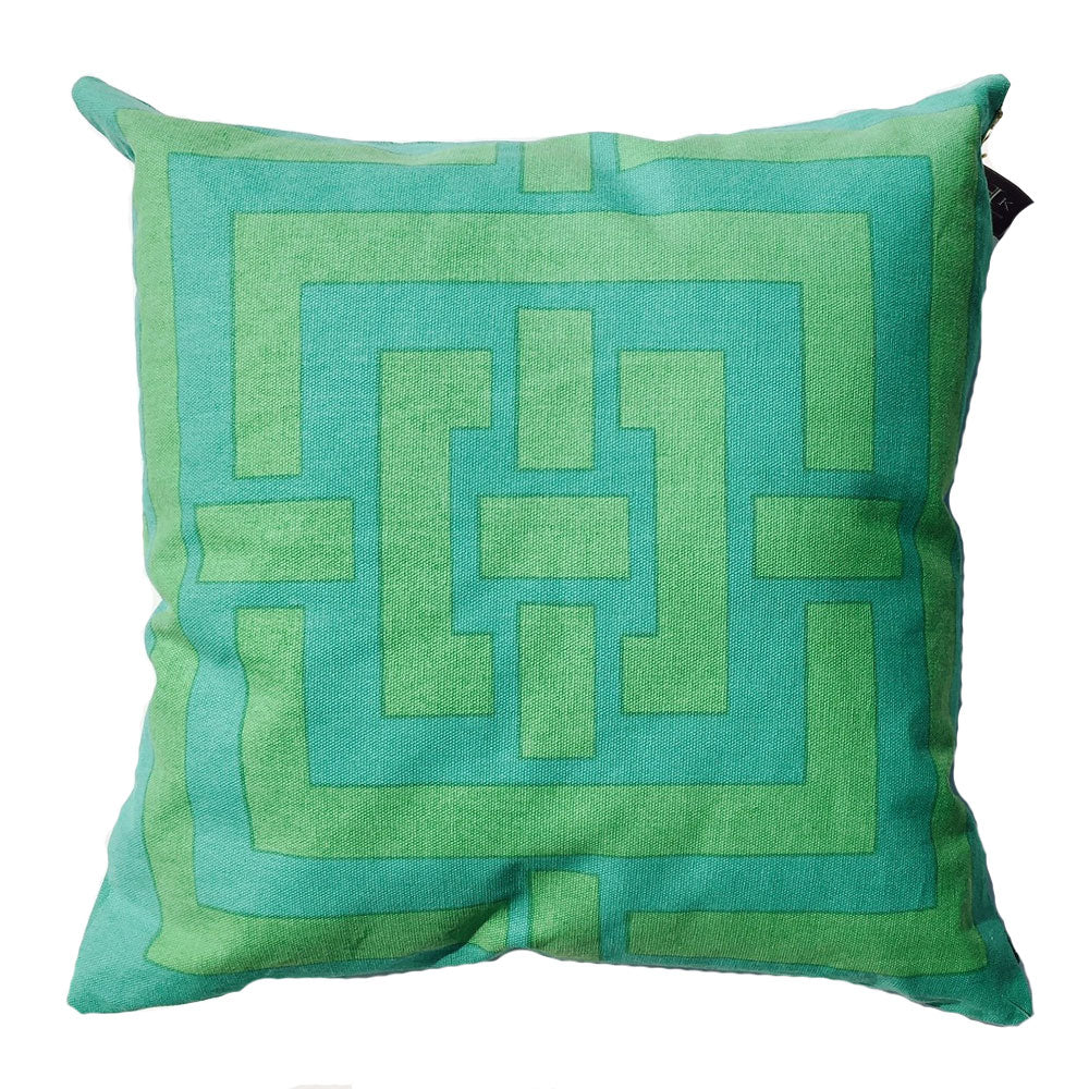 "THE PATSY PILLOW  -  Aqua and Green  -  20"" x 20""  -  Two in Stock  -  FREE SHIPPING"