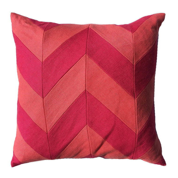 "THE PENNY PILLOW  -  Slubby Linen Zig Zag  -  22"" X 22""  -  Two in Stock  -  FREE SHIPPING"
