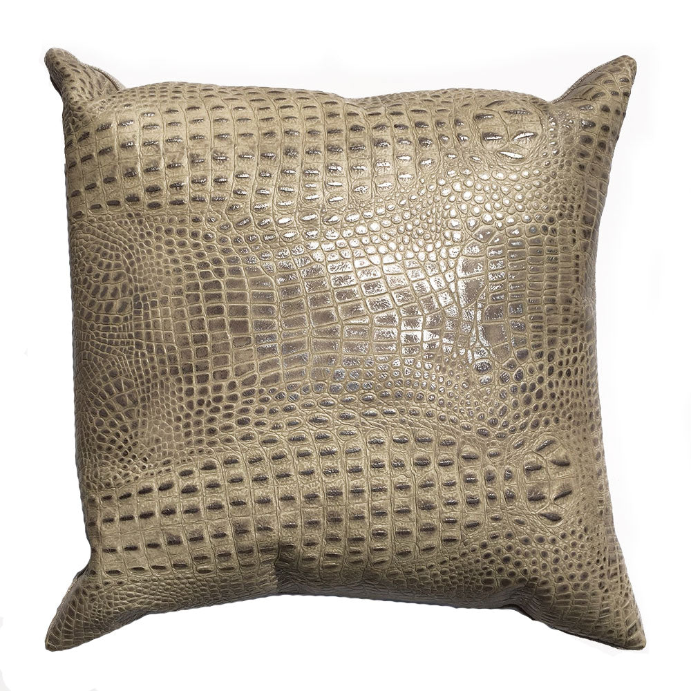 "THE RAMONA PILLOW  -  Gray Croc  -  24"" X 24""  -  Two in Stock  -   FREE SHIPPING"