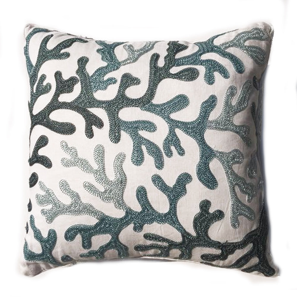THE AMBER PILLOW  -  Aqua Emroidered on White  -  20x20  -  One in stock  -  Free Shipping