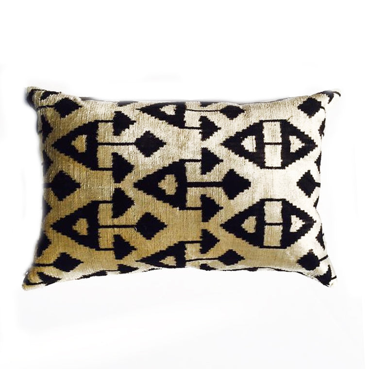 "L -  THE AMELIA LUMBAR PILLOW  -  Black & Creme Velvet    -   22"" x 15"""