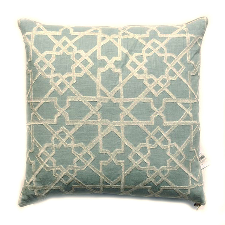"ZZ- THE AMY PILLOW - Embroidered Blue -  22""X 22"" -  Two in Stock"