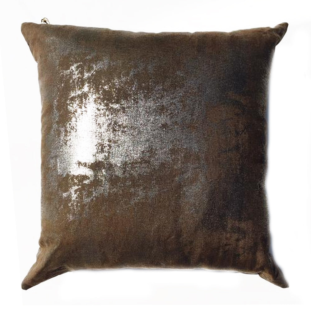 "ZZ - THE ANGELA PILLOW  -  Shimmer Silver Tone with Brown Back -   22"" x 22""   -   Two in Stock"
