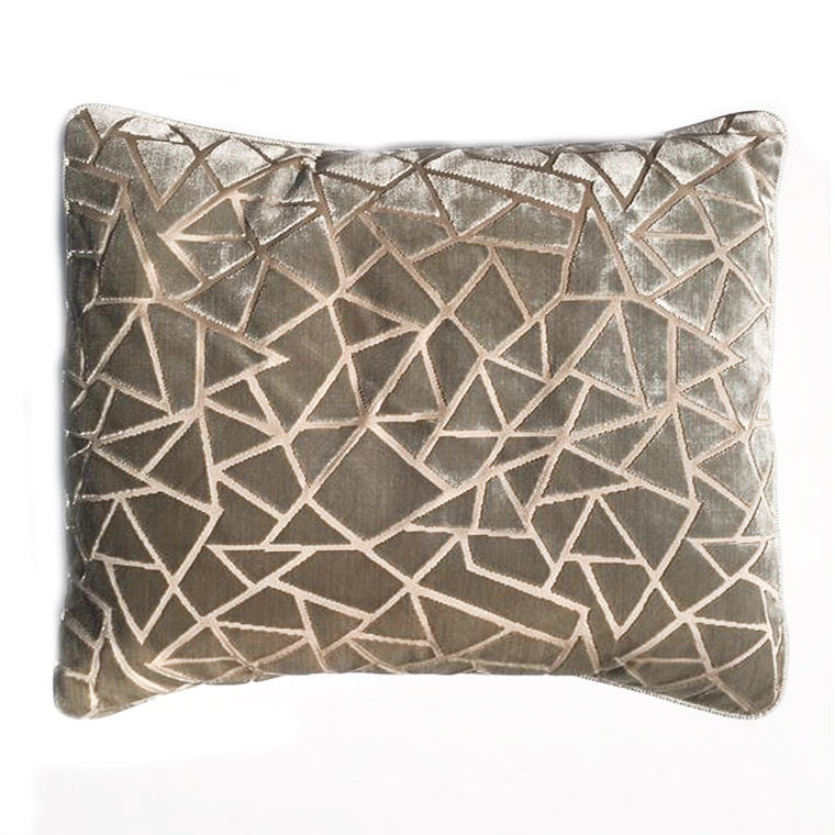 Z - THE ARIANA PILLOW  -  Aqua Beige cut velvet mosaic  -  20x22  -  Two in Stock