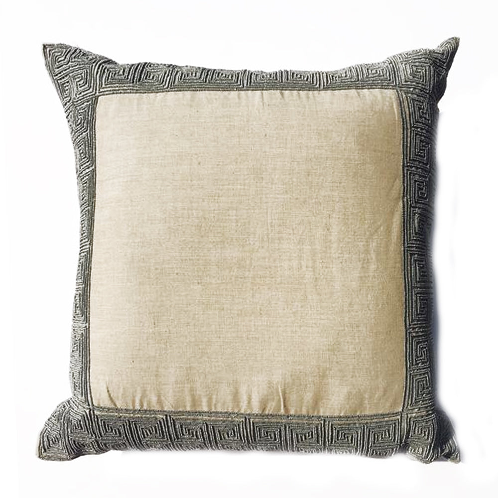 "ZZ - THE ATHENA PILLOW- Natural Linen/Silver Beads  -  22"" X 22"""