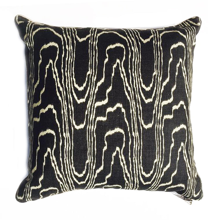 Z - THE BABITA PILLOW - Piped Faux Bois Linen Agate Ebony