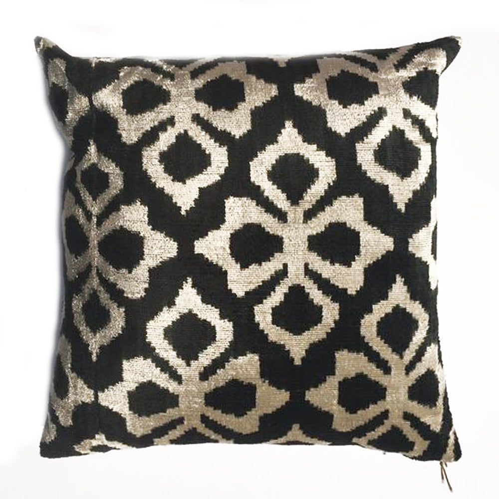 Z - THE BABY  PILLOW  -  Black Geometric Chenille  -  20x20  -