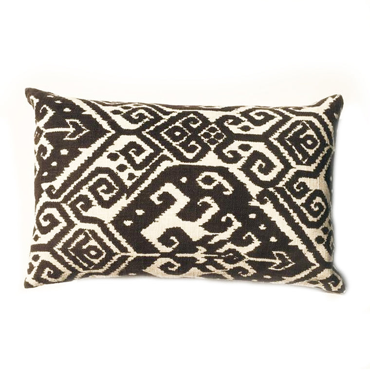 "L -  THE BARBARA PILLOW  -  brown/white Ikat Pattern  -  12"" x 20"""