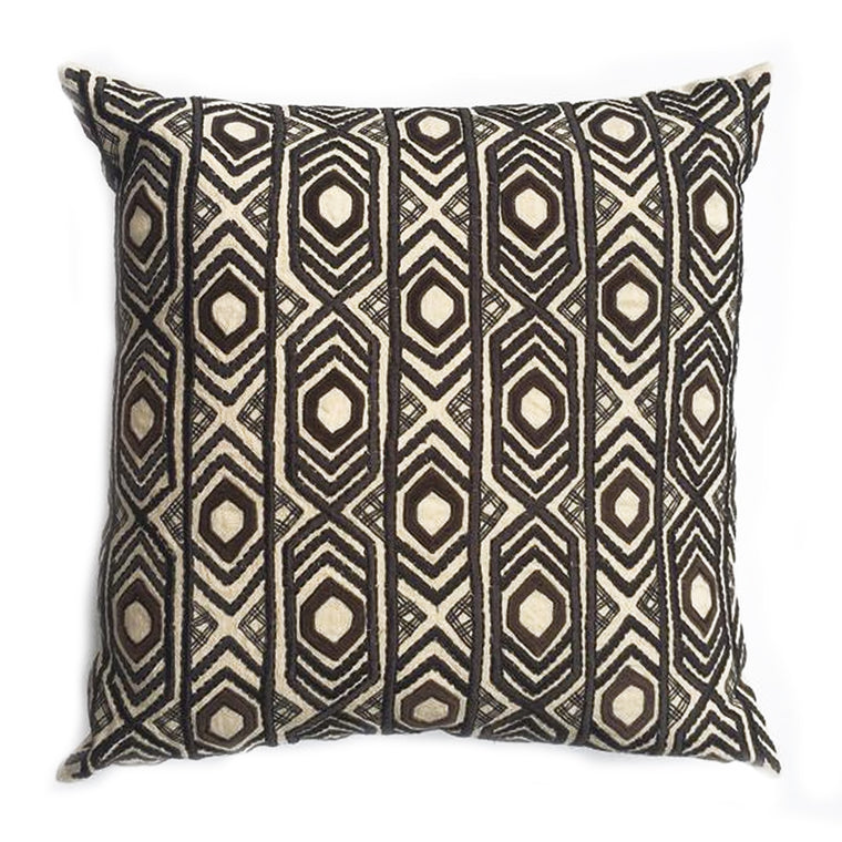 "ZZ - THE BEATRICE PILLOW - Custom crème linen/dk charcoal  -  22"" x 22""  -  Two in Stock"