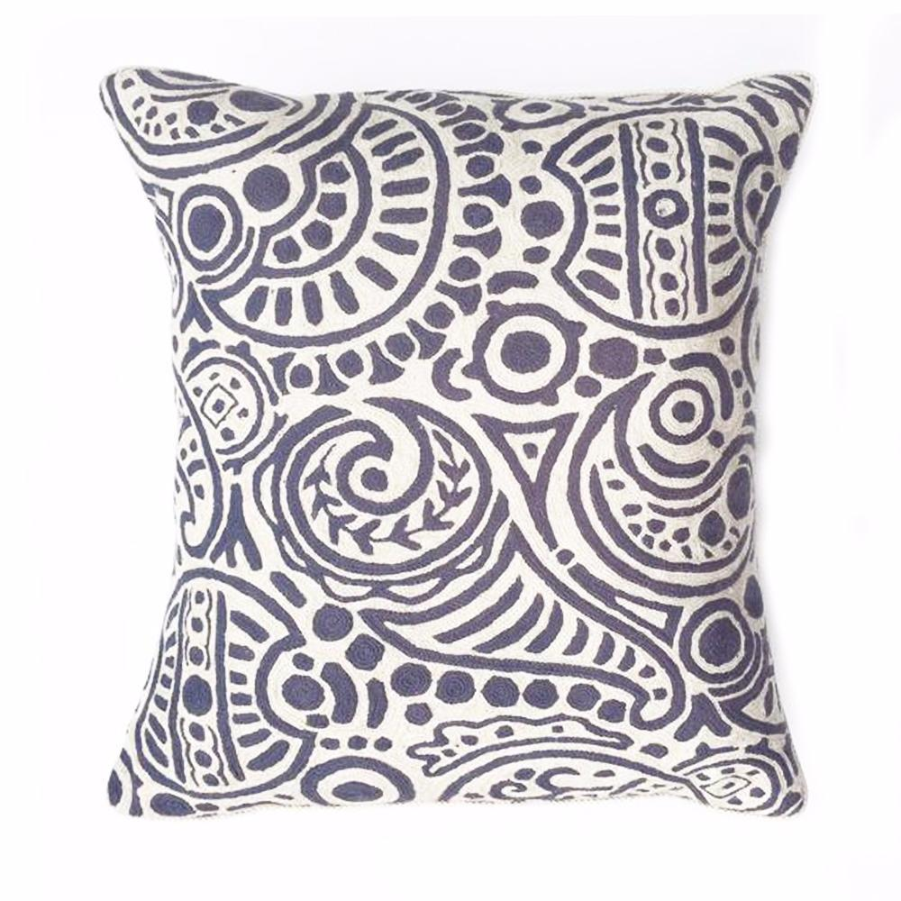 Z - THE BEATRIX PILLOW  -  BLUE & WHITE CREWEL  -  22X20