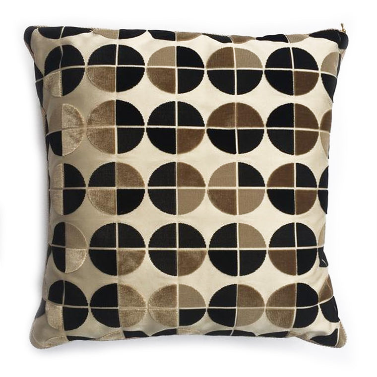 "THE BETTINA PILLOW  -  Cut Velvet Black, Brown & Taupe  -  24"" x 24""  -    Two in Stock  -   FREE SHIPPING"