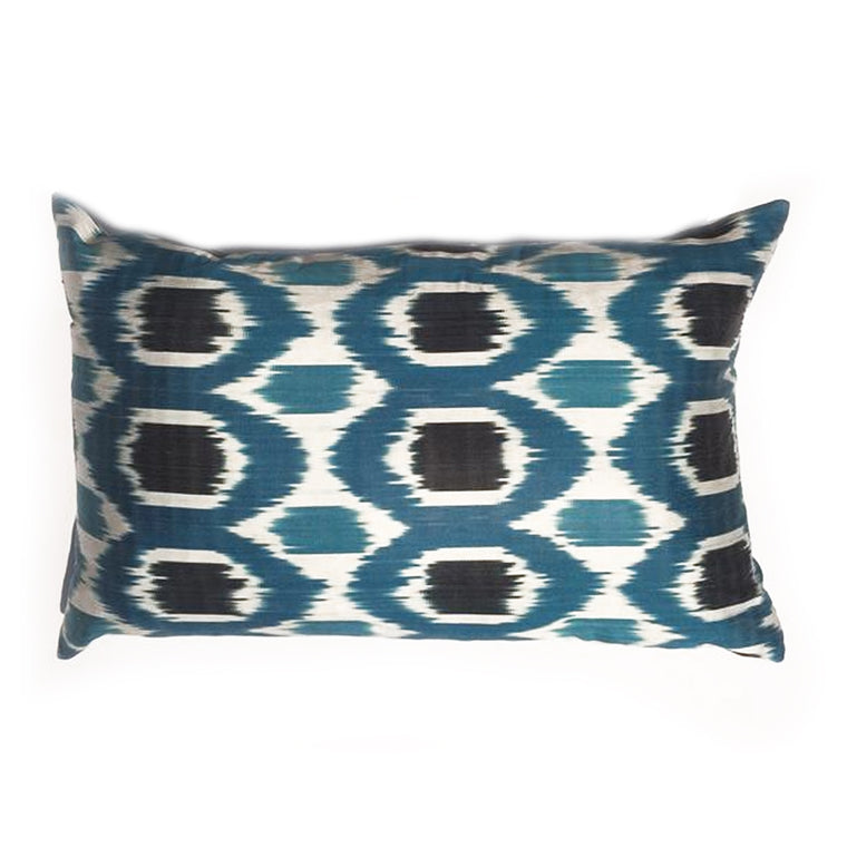 L -  THE BOBBIE PILLOW  -  Teal with Black on White Ikat Design