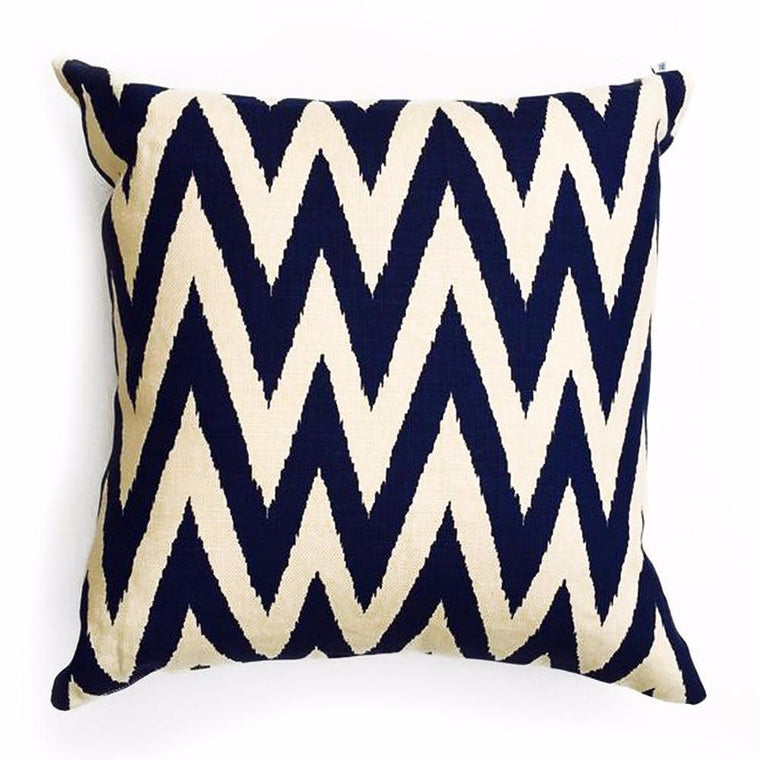 "Z - HE BRITTANY PILLOW  -  Zig-Zag Pattern in Blue & White  -   22"" x 22""  -   Two in Stock"
