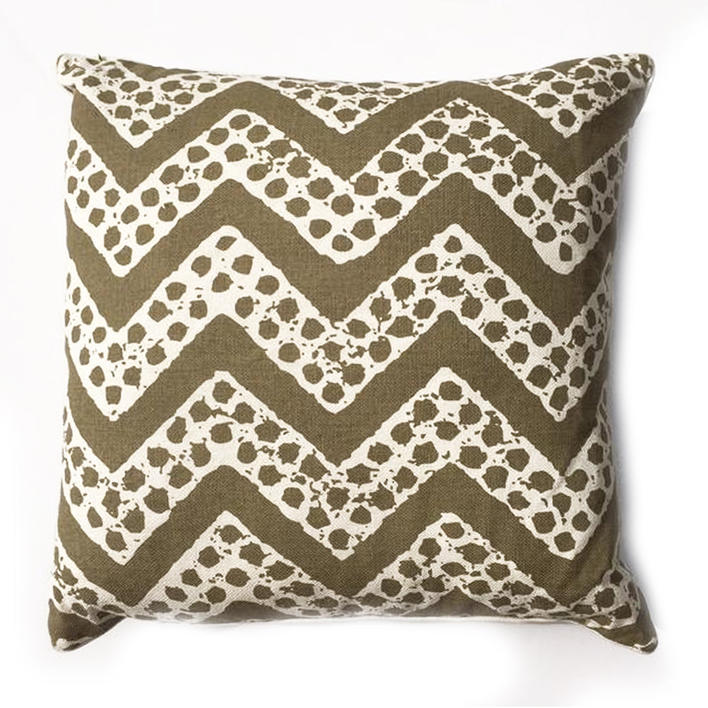 "THE ELIZABETH PILLOW  -  Olive and White Zig-Zag Pattern  -  22"" x 22""  -   Two in Stock  -   FREE SHIPPING"