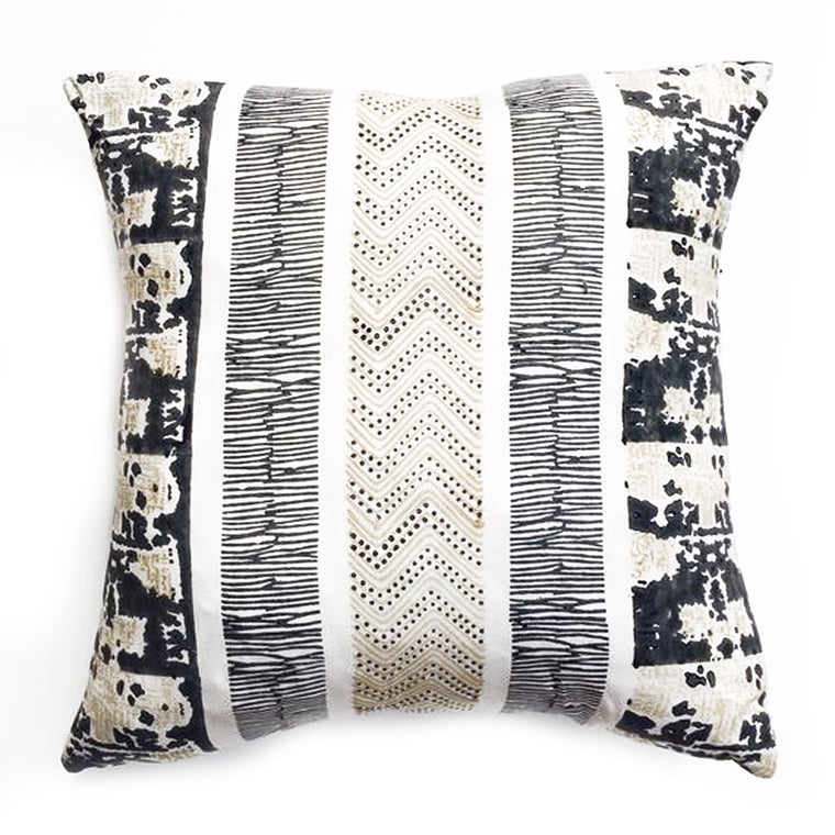 THE GABBY PILLOW  -  Medium Gray and Soft Black / White Pattern  - Two in Stock  -  FREE SHIPPING
